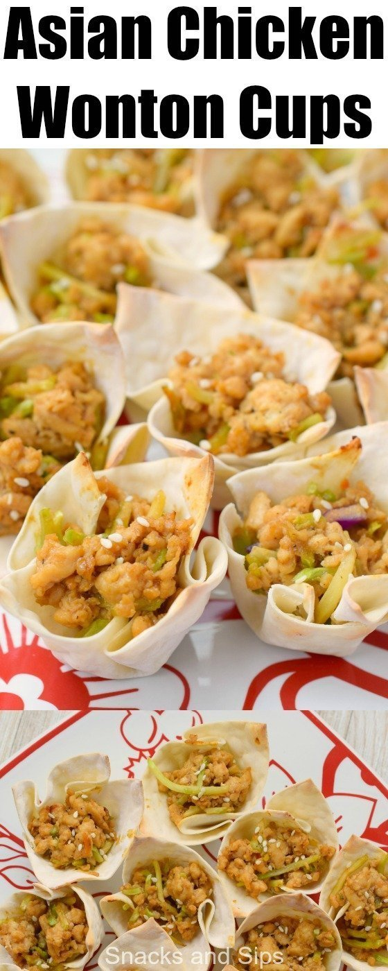 Asian Chicken Wonton Cups are a delicious way to enjoy a bite-sized bit of your favorite flavors. Great for parties or game day, you'll simply love them!