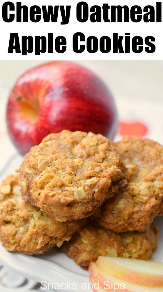 Chewy Oatmeal Apple Cookies combine all your favorite flavors in one easy to prepare snack. Perfect with a glass of milk, you'll love this delicious treat.