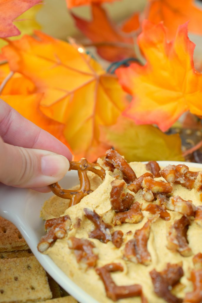 Pumpkin Cheesecake Dip with Toffee Pretzel Pieces is a delicious snack with all the best fall flavors. Great for holidays or autumn parties, you'll love it.