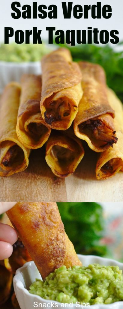 Salsa Verde Pork Taquitos - A quick and easy appetizer perfect for a party! Flavorful salsa verde pork and cheese inside of corn tortillas deep-fried until golden brown.