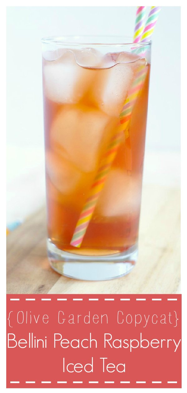 Bellini Peach Raspberry Iced Tea {Olive Garden Copycat} - A delicious and refreshing summer drink that tastes just like the version from Olive Garden! Made with just a few simple ingredients, this is going to be a new favorite.  Olive Garden Copycat Recipe | Iced Tea Recipe | Peach Raspberry Iced Tea