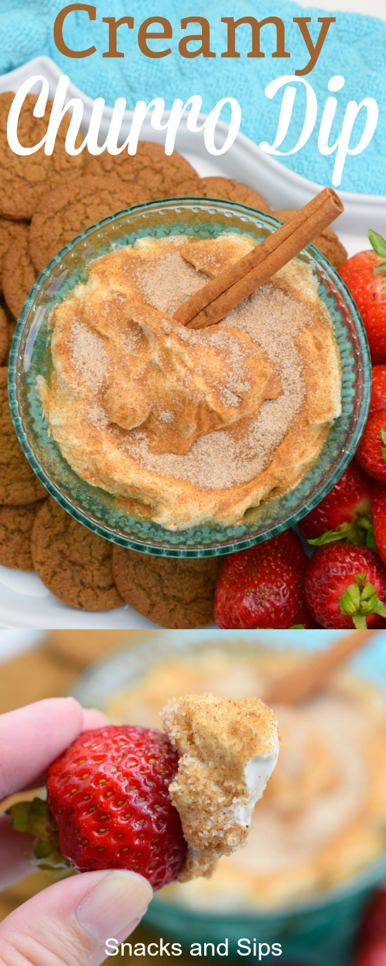 overhead shot of bowl of creamy churro dip with cinnamon stick next to strawberries and cookies on white platter over blue fabric