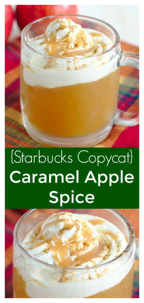 Caramel Apple Spice {Starbucks Copycat} - This fall favorite is the perfect starbucks copycat recipe! Made with just a few simple ingredients and oh so delicious! Starbucks Copycat Recipe | Caramel Apple Cider | Fall Starbucks Recipe #starbucks #copycat #drink #caramel #apple
