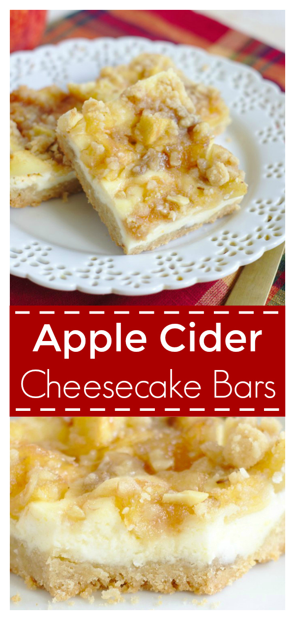 Apple Cider Cheesecake Bars – Delicious layered bars with a shortbread crust, cheesecake filling, and topped with a crumb topping, apples, and caramel! Apple Cheesecake | Cheesecake Recipe | Apple Dessert Recipe #apple #cheesecake #dessert #recipe #easydessert #easyrecipe