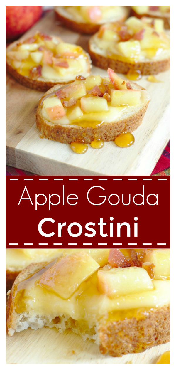 Apple Gouda Crostini - A quick and easy appetizer that is perfect for fall! Gouda, apples, honey, bacon, and baguette! Crostini Recipe | Fall Appetizer Recipe | Apple Appetizer #appetizer #apple #recipe #easyrecipe