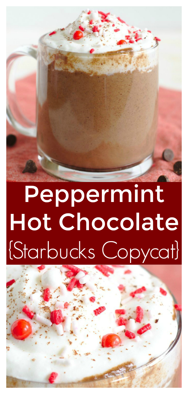 Peppermint Hot Chocolate {Starbucks Copycat} - Save money and make this Starbucks copycat recipe at home! Made with just a few simple ingredients and it tastes like the holiday season! Starbucks Copycat Recipe | Starbucks Hot Chocolate | Peppermint Hot Chocolate Recipe | Christmas Drink Recipe #christmas #starbucks #copycat #drink #easyrecipe