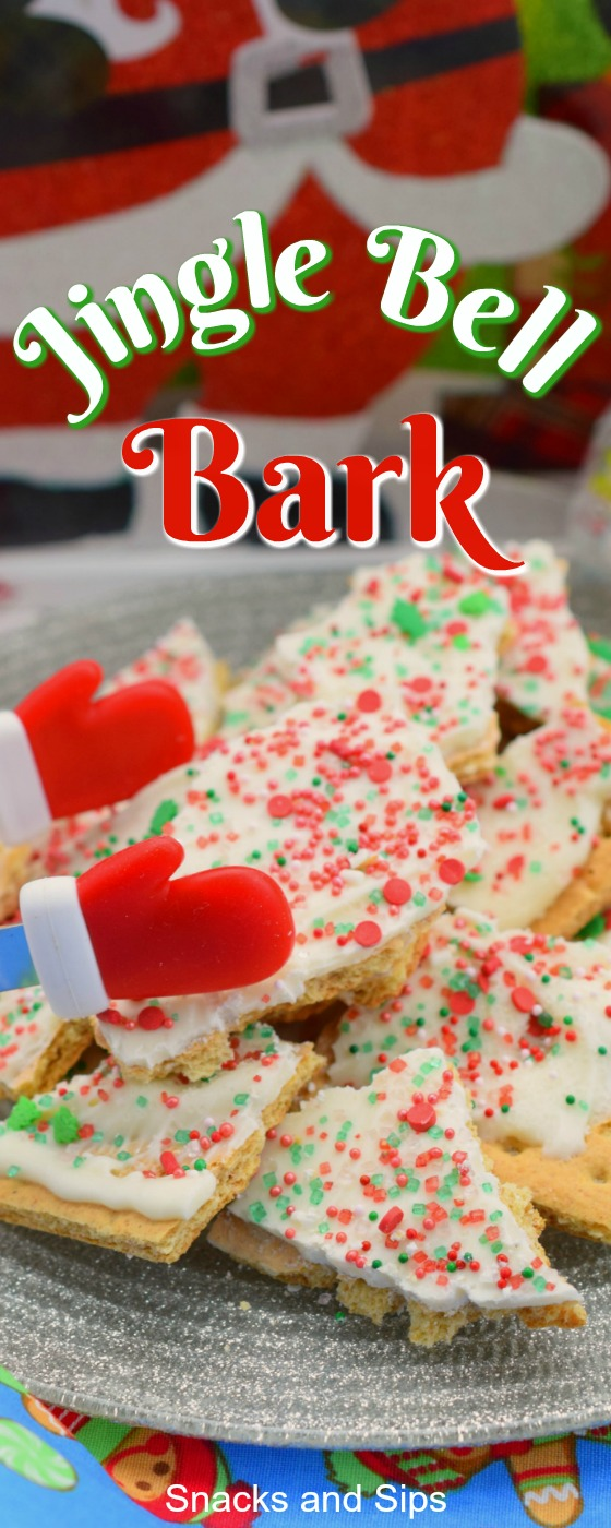 plate of Jingle Bell Bark next to holiday decor