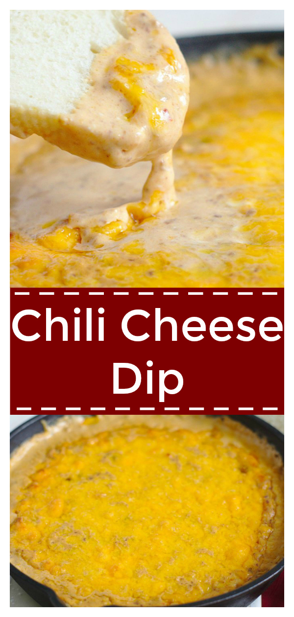 Chili Cheese Dip - A quick and easy appetizer made with just 3 ingredients and in 15 minutes! It doesn't get any better than this! Chili Dip | Superbowl Appetizer | Easy Chili Cheese Dip Recipe