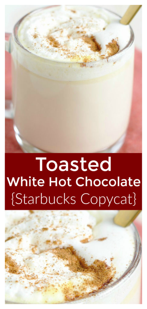 Toasted White Hot Chocolate {Starbucks Copycat} - Save money and make this Starbucks copycat recipe at home! Made with caramelized white chocolate and a few simple ingredients. Starbucks Copycat Recipe | White Hot Chocolate Recipe | Starbucks Drink Recipe #drink #starbucks #copycat #recipe