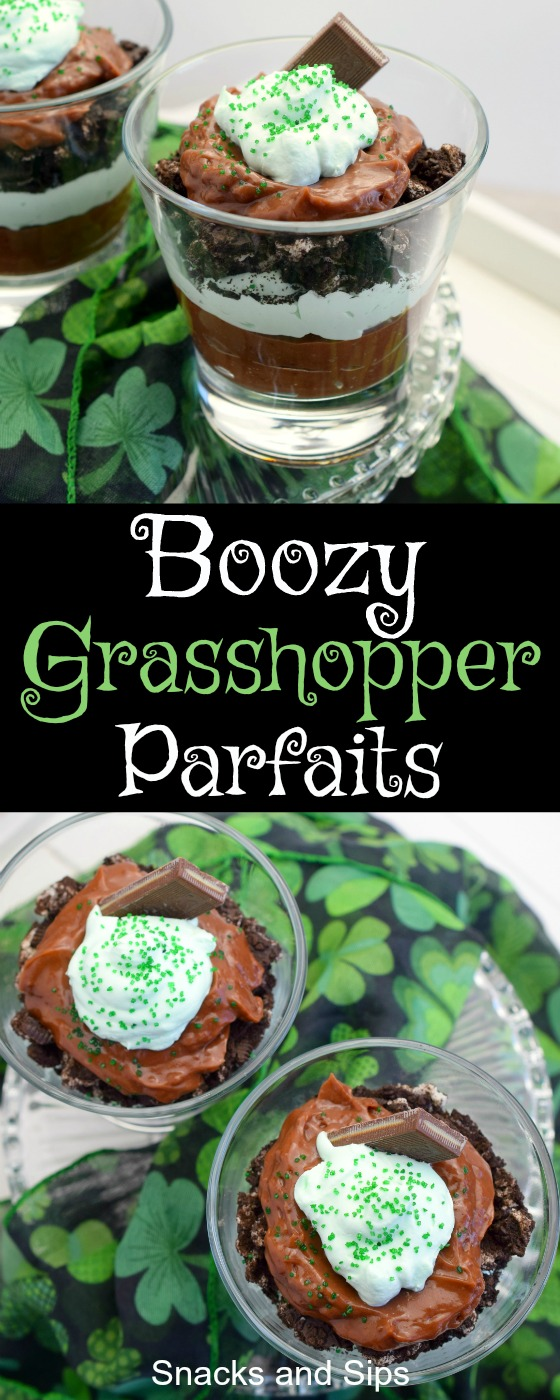 Boozy Grasshopper Parfaits are the perfect adult treat for St. Patrick's Day. A luscious combination of chocolate and mint with a wee bit of alcohol!