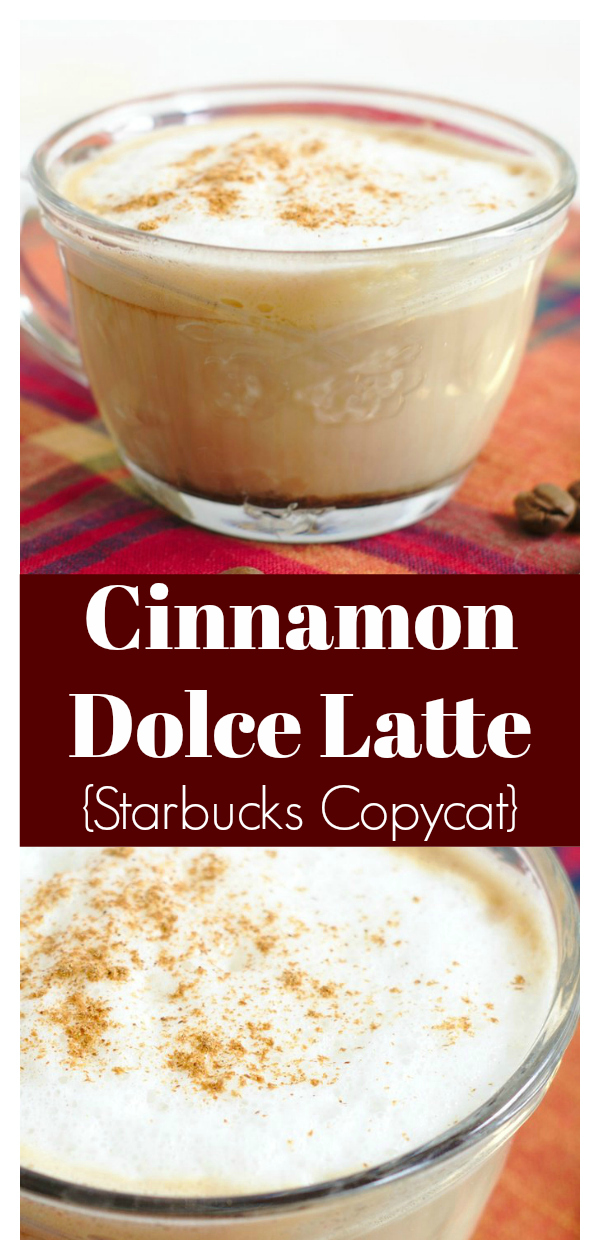 Cinnamon Dolce Latte {Starbucks Copycat} - Save money and make this Starbucks drink at home! Made with just a few simple ingredients, it's so good!