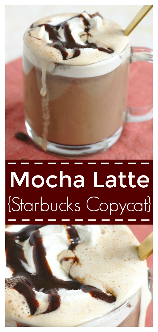 Mocha Latte {Starbucks Copycat} - Save money and make this classic Starbucks recipe at home! Made with just 3 simple ingredients, so easy! Starbucks Copycat Recipe | Mocha Latte Recipe | Starbucks Mocha Latte #drink #recipe #starbucks #latte #mocha