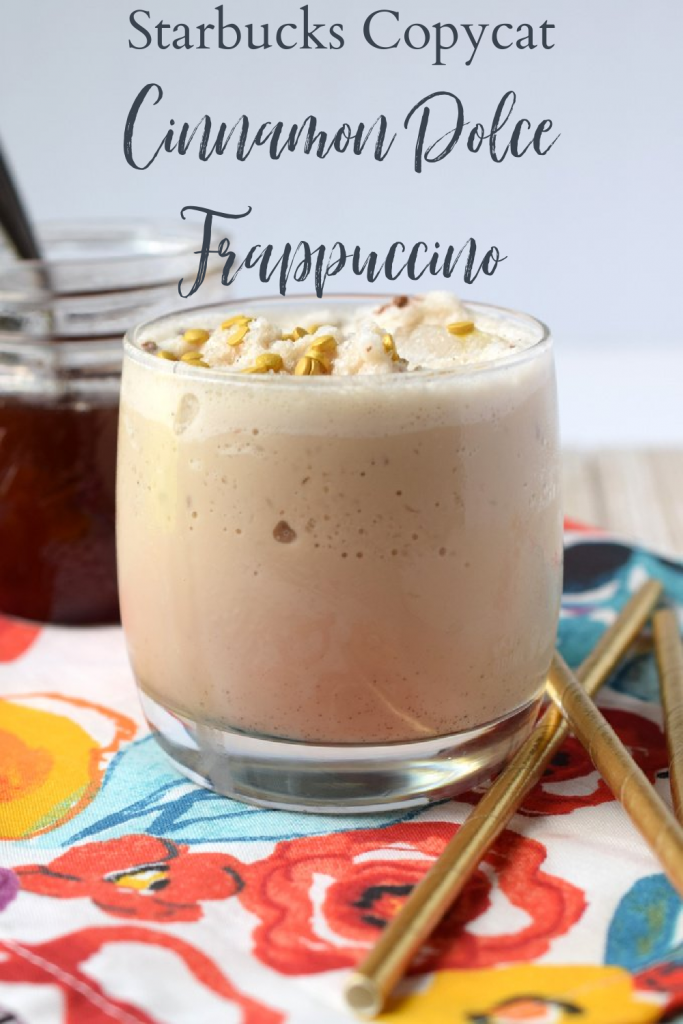 Cinnamon Dolce Frappuccino {Starbucks Copycat} - A delicious homemade frappuccino made with just 4 simple ingredients in just 5 minutes! Frappuccino Recipe | Blended Coffee Recipe | Starbucks Copycat Recipe