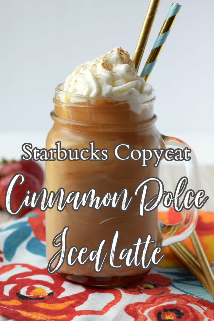 Cinnamon Dolce Iced Latte {Starbucks Copycat} - A delicious iced coffee recipe made with just 4 simple ingredients. Perfect for a hot summer day! Iced Latte Recipe | Iced Coffee Recipe | Cinnamon Dolce Iced Latte