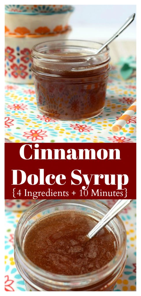 Cinnamon Dolce Syrup - A delicious cinnamon flavored simple syrup that taste great in everything from cinnamon dolce lattes to your morning cup of coffee. Simple Syrup Recipe | Cinnamon Syrup | Coffee Syrup