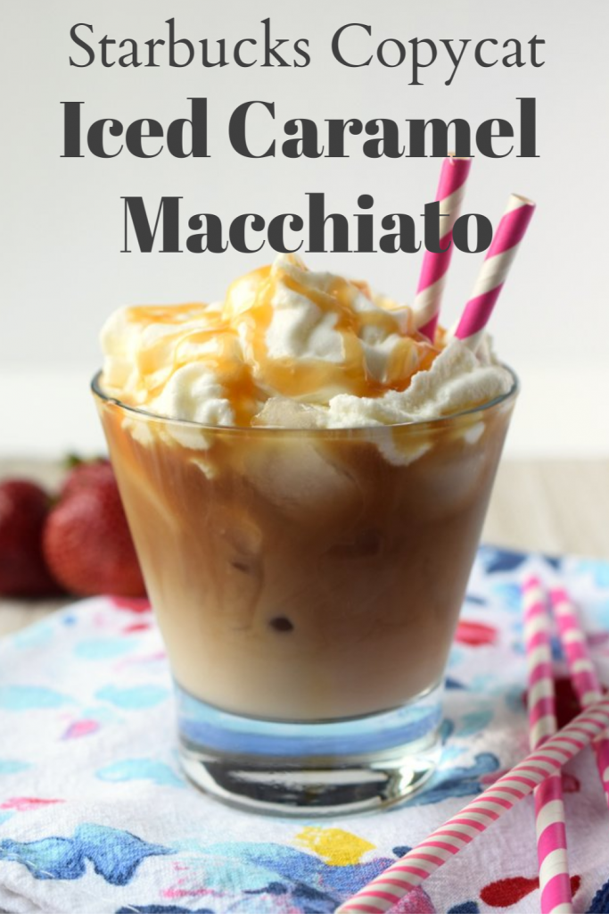 Iced Caramel Macchiato {Starbucks Copycat} - Save money and make this delicious iced caramel macchiato at home with just 4 simple ingredients in just 5 minutes! Iced Coffee Recipe | Caramel Macchiato Recipe | Starbucks Copycat Recipe