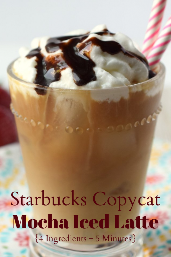 Mocha Iced Latte {Starbucks Copycat} - A quick and easy drink made with just 4 ingredients that is ready in less than 5 minutes. Perfect for summer! Iced Coffee Recipe | Mocha Iced Latte | Starbucks Copycat Recipe