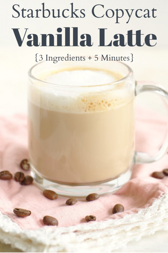 Vanilla Latte {Starbucks Copycat} - This copycat Starbucks vanilla latte is a fraction of the price and so easy to make with just 3 simple ingredients! Starbucks Copycat Recipe | Vanilla Latte Recipe | Starbucks Vanilla Latte