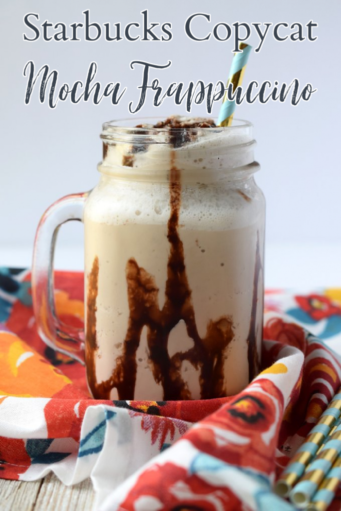 Mocha Frappuccino {Starbucks Copycat} - A delicious homemade frappuccino made with just 4 simple ingredients in just 5 minutes! Mocha Frappuccino Recipe | Frappuccino Recipe | Starbucks Copycat Recipe