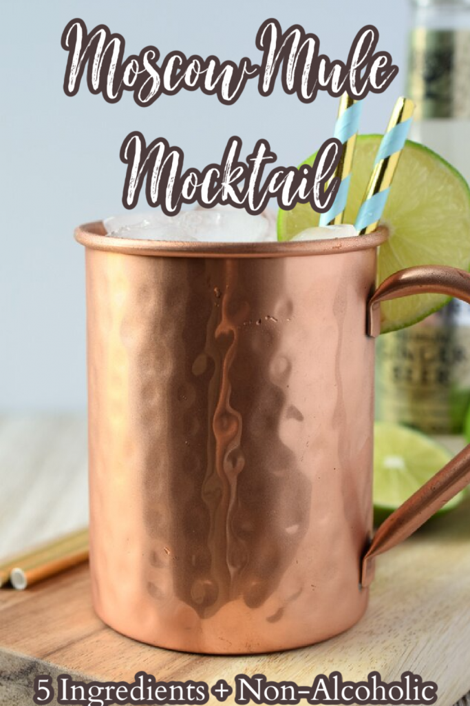 Moscow Mule Mocktail - A delicious non-alcoholic mocktail with all of your favorite moscow mule flavors! All you need are 5 simple ingredients and just a few minutes. Moscow Mule Recipe | Mocktail Recipe | Virgin Cocktail Recipe