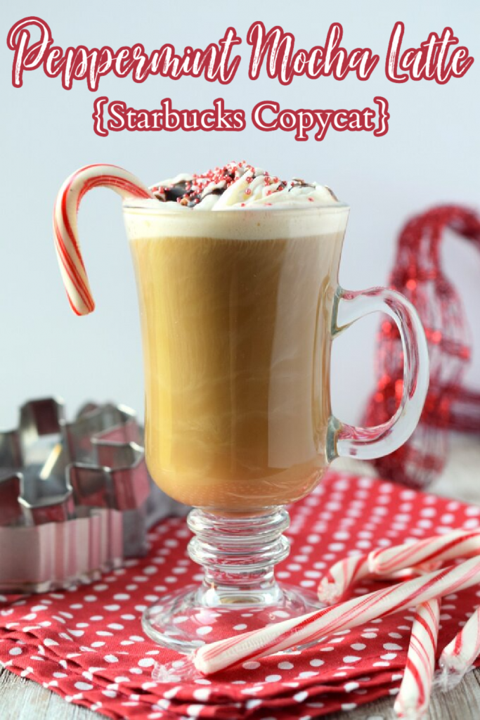 Peppermint Mocha Latte {Starbucks Copycat} - A festive holiday coffee drink made with just 5 simple ingredients. Tastes just like the coffee shop! Peppermint Mocha Recipe | Peppermint Mocha Coffee | Starbucks Copycat Peppermint Mocha Latte