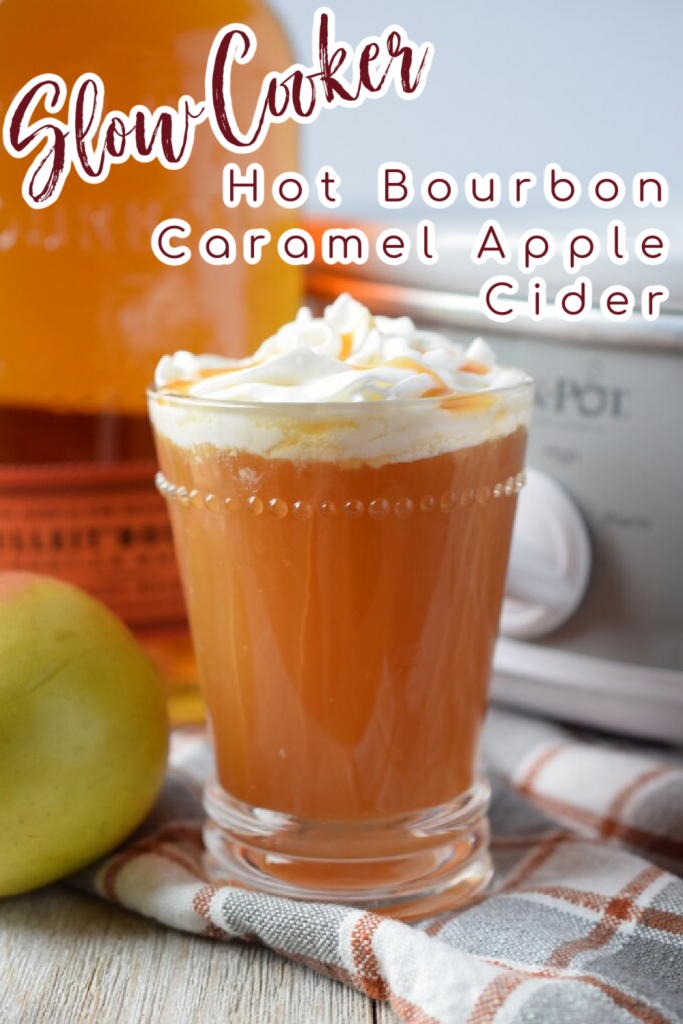 Slow Cooker Hot Bourbon Caramel Apple Cider - A warm and cozy slow cooker drink that is perfect to serve for a crowd during the holidays! Made with just a few simple ingredients. Slow Cooker Drinks   Crock Pot Drinks   Boozy Apple Cider   Bourbon Apple Cider