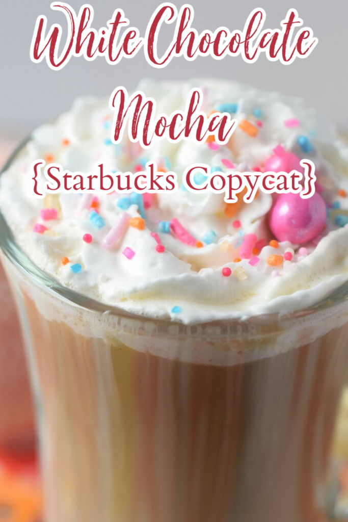 White Chocolate Mocha {Starbucks Copycat} – This white chocolate mocha is the perfect combination of a latte and white chocolate. Made with only 3 simple ingredients, it will be a new favorite drink! White Chocolate Mocha | White Chocolate Latte | Latte Recipes