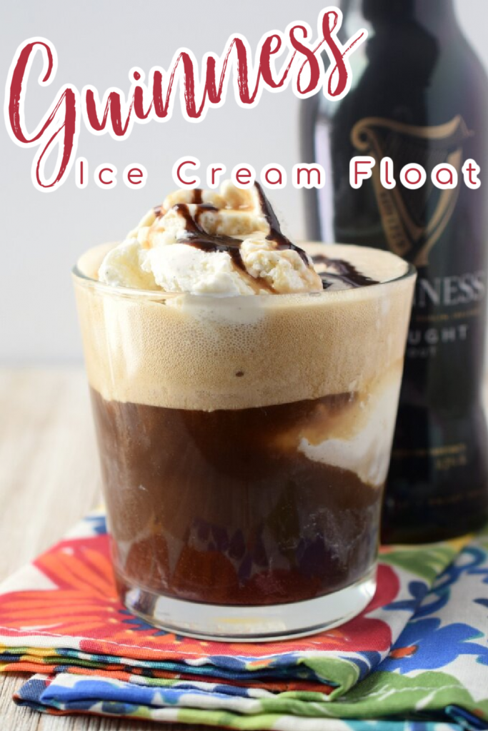 Guinness Float - An adult spin on a classic ice cream float that's perfect for St. Patrick's Day! Made with Guinness beer, vanilla ice cream, and chocolate sauce. Guinness Float | Guinness Ice Cream Float | Guinness Recipes | St Patricks Day Drink Recipes