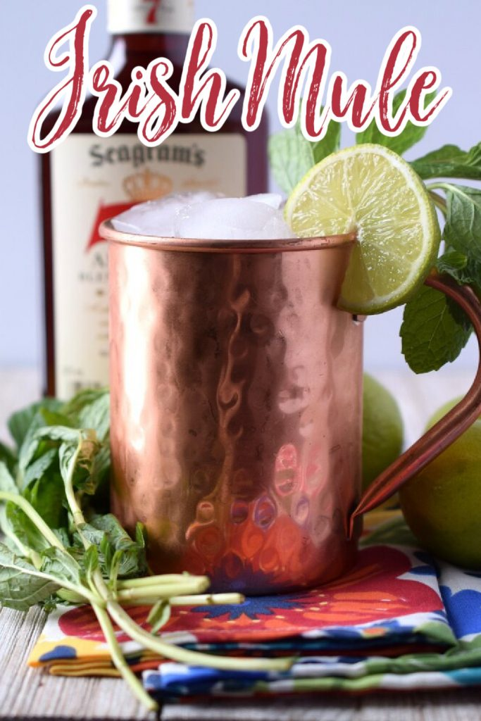 Irish Mule - A delicious cocktail made with just whiskey, lime juice, and ginger beer! Perfect for St. Patrick's Day or as a light cocktail at a party! Irish Mule Recipe | St Patricks Day Cocktails | Mule Recipe