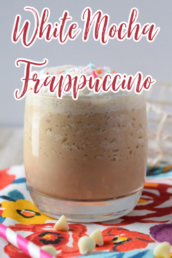 White Chocolate Mocha Frappuccino - A delicious homemade frappuccino made with just 4 simple ingredients in just 5 minutes! So tasty! Frappuccino Recipe | Frappe Recipe | White Mocha Frappuccino | Blended Coffee